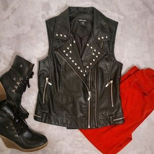 Wet Seal Faux Leather Studded Vest